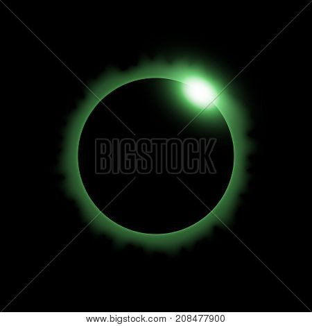 Total eclipse of the sun solar eclipse on black background light effect green color
