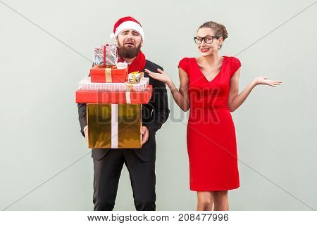 Its So Hard And I Tired! Not My Problem, Everything Fine. Bearded Man Holding Many Gift Box And Cryi