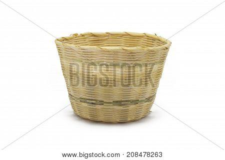 Empty bamboo basket isolated on white background