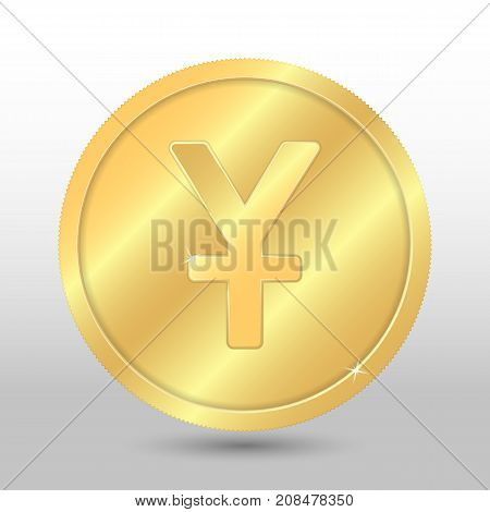Realistic gold coin with yuan sign. Vector coin on gray background