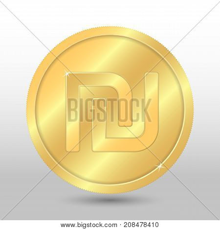 Realistic gold coin with shekel sign. Vector coin on gray background
