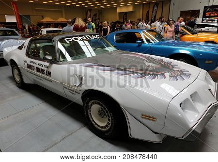 CRACOW POLAND - MAY 20 2017: Pontiac Trans Am displayed at 3rd edition of MOTO SHOW in Krakow. Poland. Exhibitors present most interesting aspects of the automotive industry