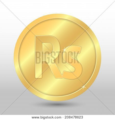 Realistic gold coin with rupee sign. Vector coin on gray background