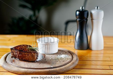 Beef Steak Medium Grilled And Sauce