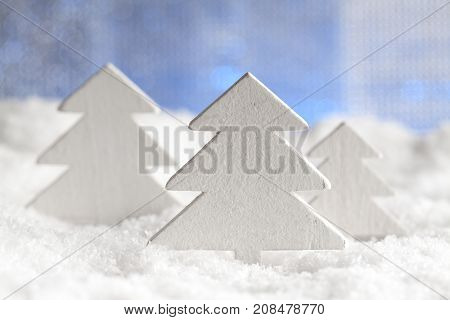 Christmas Background - Wooden Trees On Snow
