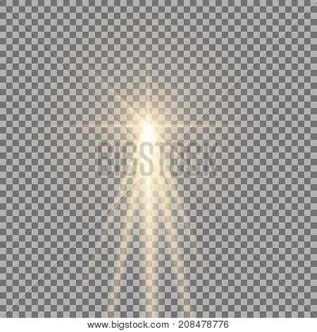 Light with a glare on transparent background sun rays with transparency beams lens flare golden color