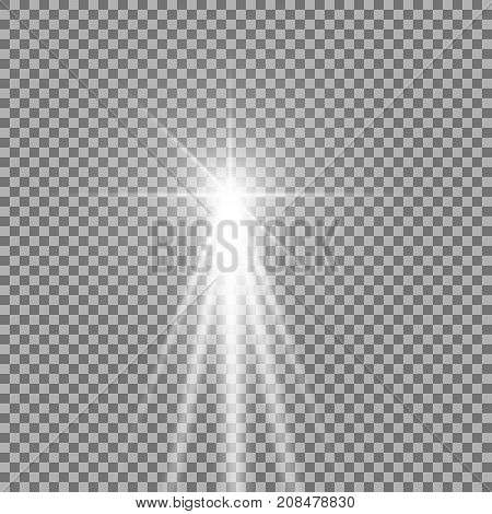 Light with a glare on transparent background sun rays with transparency beams lens flare white color