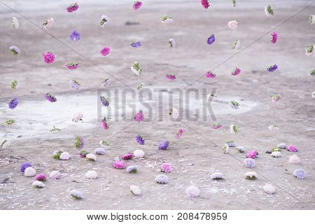garland of flowers on the background of sand
