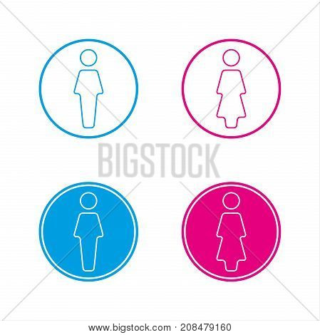 Blue and pink round wc symbols man and woman icon restroom vector illustration isolated on a white background