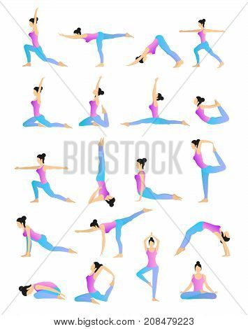 Woman is practicing yoga movements. Vector set of different yoga positions.