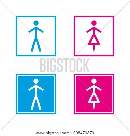 Simple blue and pink wc symbols in empty and full squares isolated on a white background vector restroom illustration man and woman icons