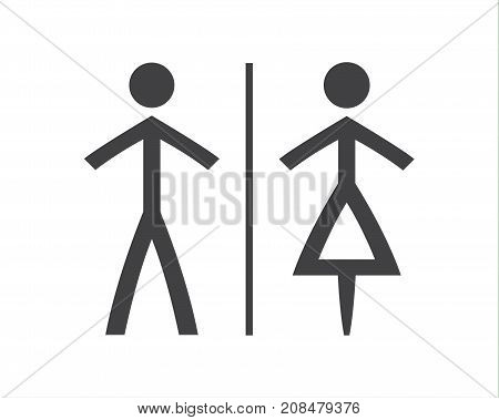 Simple grey and white wc symbols man and woman icons isolated on a white background vector restroom illustration