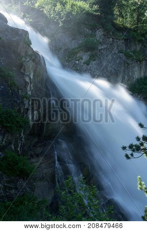rutor waterfall in aosta valley in italy