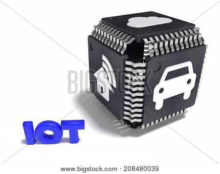 Black cube made from cpus with white IOT icons on each side internet of things concept 3D illustration