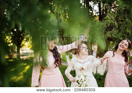Stunning Bride Having Fun With Bridesmaids On Her Sunny Wedding Day Outdoor.