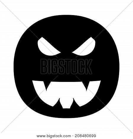 Illustration on a theme of Halloween. The image of an evil smile with fangs. Evil, terrible face. Vector illustration. Hand drawing.