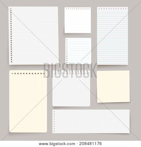 Set of various white vector note papers.