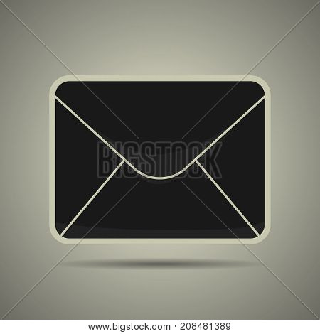 Message icon in flat style black and white colors isolated web icon