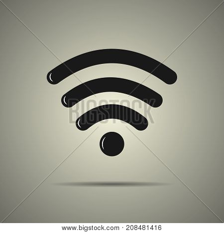 Wi-fi icon in flat style black and white colors isolated web icon