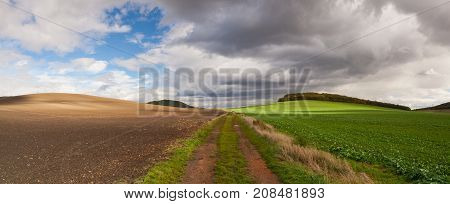 On the empty road in Central Bohemian Highlands Czech Republic