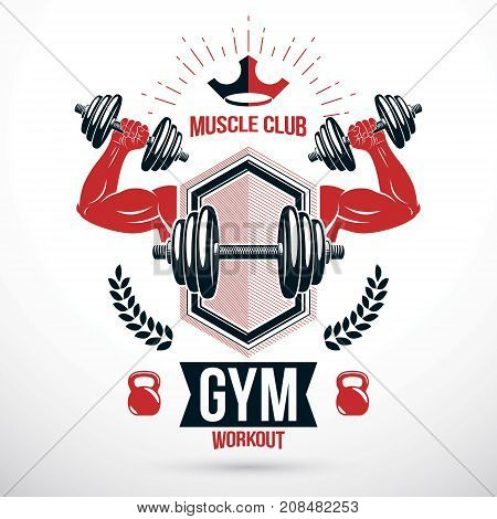 Graphic vector insignia created with strong sportsman biceps arm holding disc weight dumb bell and with kettle bell sport equipment. Gym and fitness symbol template