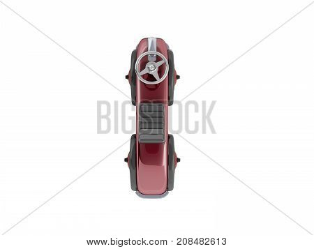 Retro Typewriter Pusher Red With Rudder Top View 3D Render On White Background No Shadow