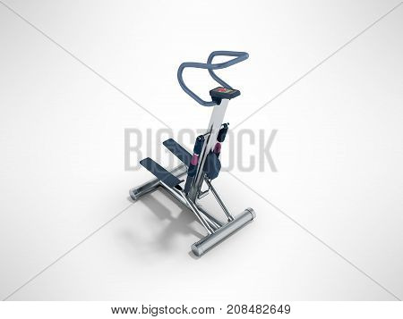 Sports Trainers For Foot Stepper Blue Perspective 3D Render On Gray Background