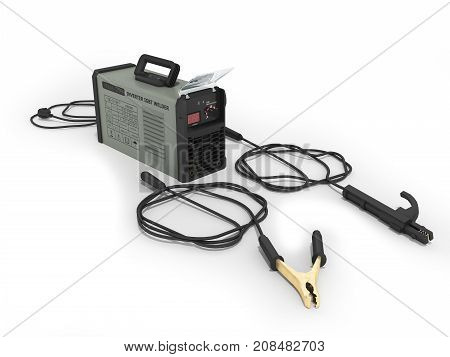 Inverter Welding Machine With Electronic Amp Adjustment Table With Welding Cables 3D Rendering On Wh