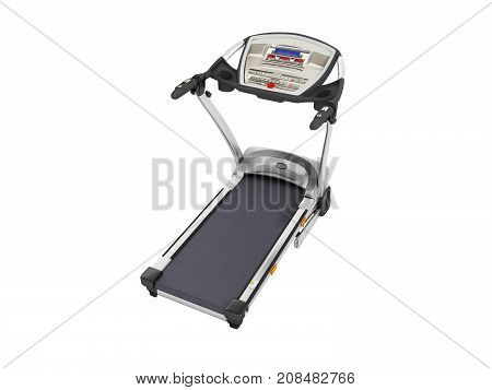 Modern Sports Jogging Track Gray With Black Metal 3D Render On White Background No Shadow