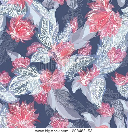 Boho style grey and red sketch doodle ornamental Seamless texture with tribal and floral elements on blue background