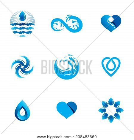 Wave splash vector logotype. World water day theme. Living in harmony with nature concept.