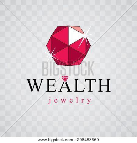 Vector elegant sparkling gem. Luxury diamond sign emblem logotype. Brilliant jewelry illustration.