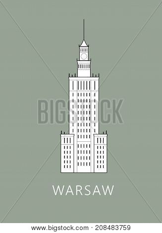Simple minimalistic illustration of Warsaw's Palace of Culture and science (Palac Kultury i Nauki w Warszawie)