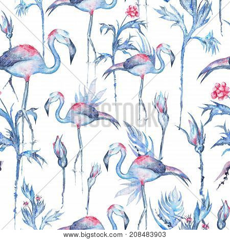 Seamless hand painted texture with exotic plants, rose flowers and flamingo birds for textile and wallpaper design