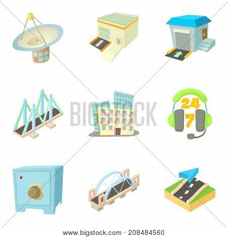 City remoteness icons set. Cartoon set of 9 city remoteness vector icons for web isolated on white background