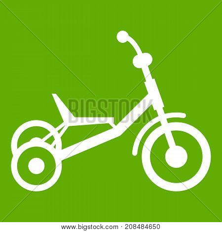 Tricycle icon white isolated on green background. Vector illustration