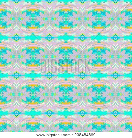 Abstract geometric seamless background. Regular ellipses and diamond pattern pink, turquoise, blue and orange, ornate and dreamy.