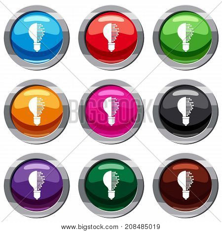 Lightbulb with microcircuit set icon isolated on white. 9 icon collection vector illustration