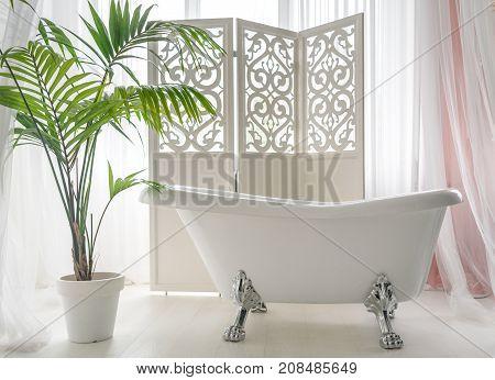 Beautiful luxury vintage empty bathtub near big window in bathroom interior free space. Freestanding white bath near folding screen and palm tree copy space