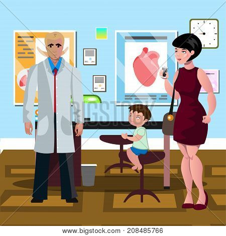 Mom and son in doctor s office. Vector illustration