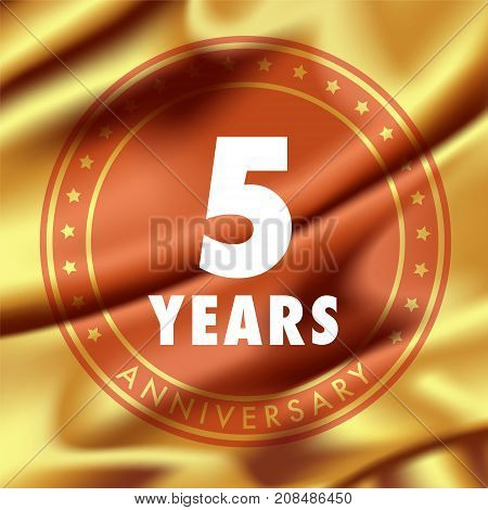 5 years anniversary vector icon logo. Template design element with golden medal in silk for 5th anniversary greeting card can be used as decoration element