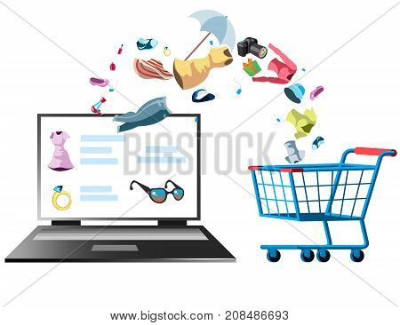 Online store with different clothing. Vector illustration