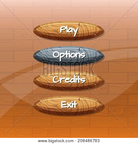 Vector cartoon style wooden buttons with text for game design on wooden texture background. Vector illustration