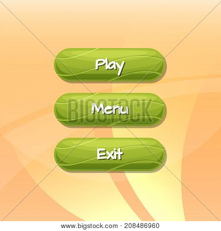 Vector cartoon style wavy buttons with text for game design on neutral background illustration