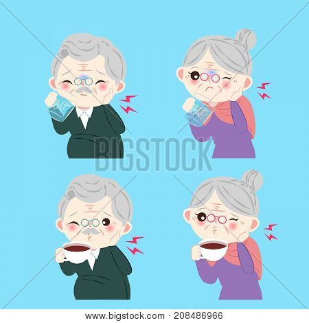 old people with sensitive tooth on the blue background