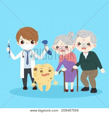 people with tooth decay problem on the blue background
