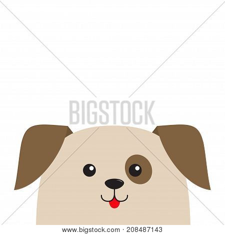 Dog puppy head looking up. Cute cartoon character. Pet baby collection. Mouth with tongue. Eyes spot. Isolated. White background. Flat design. Vector illustration