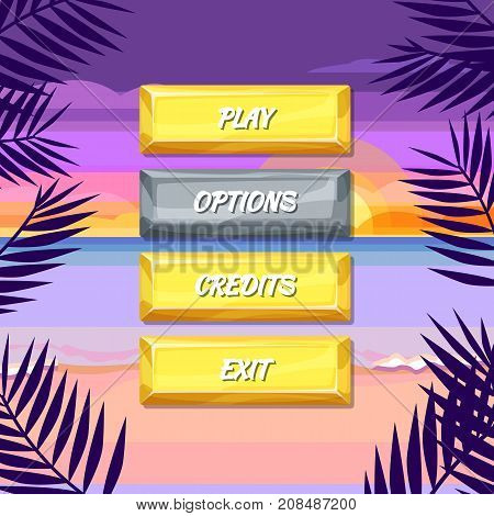 Vector cartoon style enabled and disabled buttons with text for game design on background illustration