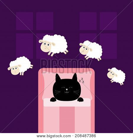 Cute sleeping cat. Jumping sheeps. Cant sleep going to bed concept. Counting sheep. Animal set. Blanket pillow room two windows. Baby collection. Flat design. Violet background. Isolated. Vector