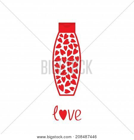 Love card. Tube of cream with hearts inside. Body lotion shampoo gel. Bottle dispenser. Red line art packaging. Valentines day. Isolated. White background. Flat design Vector illustration
